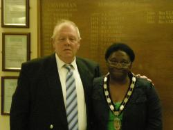 Miss Ambrose with the outgoing Town Mayor Mr David Widdowson