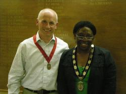 Miss Anthea Ambrose with the Deputy Town Mayor Mr Paul Pearce