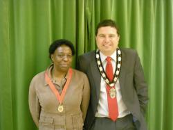 Mr Sanders and the outgoing Town Mayor Miss Anthea Ambrose