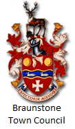 The coat of arms of Braunstone Town, with text reading 'Braunstone Town Council'.
